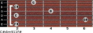 C#dim9/11/F# for guitar on frets 2, 6, 2, 4, 2, 3