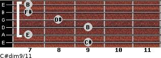 C#dim9/11 for guitar on frets 9, 7, 9, 8, 7, 7