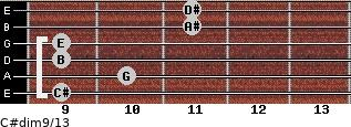C#dim9/13 for guitar on frets 9, 10, 9, 9, 11, 11
