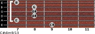C#dim9/13 for guitar on frets 9, 7, 8, 8, 8, 7