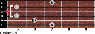 C#dim9/B for guitar on frets 7, 6, 5, x, 5, 7