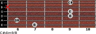 C#dim9/B for guitar on frets 7, 6, 9, 9, x, 9