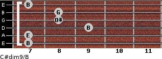 C#dim9/B for guitar on frets 7, 7, 9, 8, 8, 7