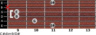C#dim9/D# for guitar on frets 11, 10, 9, 9, x, 11