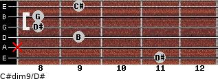 C#dim9/D# for guitar on frets 11, x, 9, 8, 8, 9