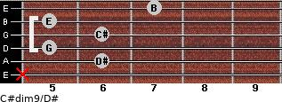 C#dim9/D# for guitar on frets x, 6, 5, 6, 5, 7