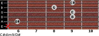 C#dim9/D# for guitar on frets x, 6, 9, 9, 8, 9