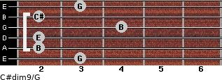 C#dim9/G for guitar on frets 3, 2, 2, 4, 2, 3