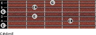 C#dim/E for guitar on frets 0, 4, 2, 0, 2, 3