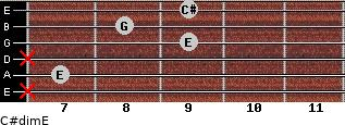 C#dim/E for guitar on frets x, 7, x, 9, 8, 9