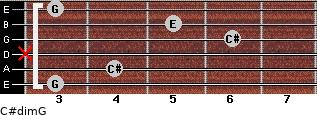 C#dim/G for guitar on frets 3, 4, x, 6, 5, 3