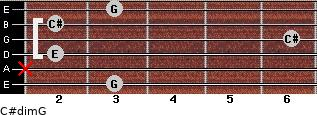 C#dim/G for guitar on frets 3, x, 2, 6, 2, 3