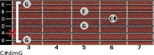 C#dim/G for guitar on frets 3, x, 5, 6, 5, 3