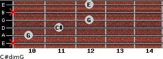 C#dim/G for guitar on frets x, 10, 11, 12, x, 12