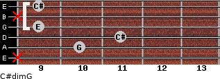 C#dim/G for guitar on frets x, 10, 11, 9, x, 9