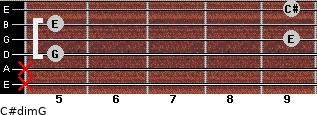 C#dim/G for guitar on frets x, x, 5, 9, 5, 9