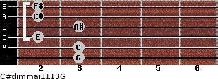 C#dim(maj11/13)/G for guitar on frets 3, 3, 2, 3, 2, 2