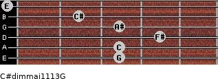 C#dim(maj11/13)/G for guitar on frets 3, 3, 4, 3, 2, 0