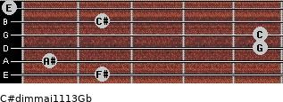 C#dim(maj11/13)/Gb for guitar on frets 2, 1, 5, 5, 2, 0
