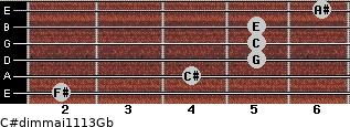 C#dim(maj11/13)/Gb for guitar on frets 2, 4, 5, 5, 5, 6