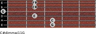 C#dim(maj11)/G for guitar on frets 3, 3, 2, 0, 2, 2