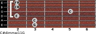 C#dim(maj11)/G for guitar on frets 3, 3, 2, 5, 2, 2