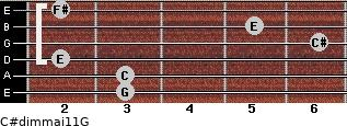 C#dim(maj11)/G for guitar on frets 3, 3, 2, 6, 5, 2