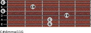 C#dim(maj11)/G for guitar on frets 3, 3, 4, 0, 2, 0