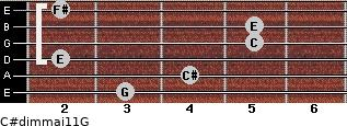 C#dim(maj11)/G for guitar on frets 3, 4, 2, 5, 5, 2