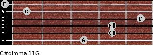 C#dim(maj11)/G for guitar on frets 3, 4, 4, 5, 1, 0