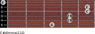C#dim(maj11)/G for guitar on frets 3, 4, 4, 5, 5, 0