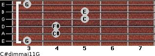 C#dim(maj11)/G for guitar on frets 3, 4, 4, 5, 5, 3