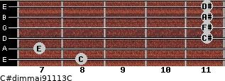 C#dim(maj9/11/13)/C for guitar on frets 8, 7, 11, 11, 11, 11