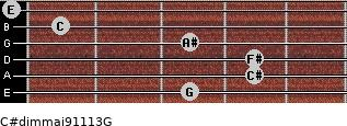 C#dim(maj9/11/13)/G for guitar on frets 3, 4, 4, 3, 1, 0