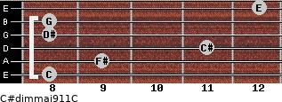 C#dim(maj9/11)/C for guitar on frets 8, 9, 11, 8, 8, 12