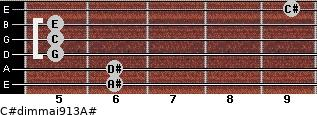 C#dim(maj9/13)/A# for guitar on frets 6, 6, 5, 5, 5, 9