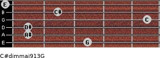 C#dim(maj9/13)/G for guitar on frets 3, 1, 1, 5, 2, 0