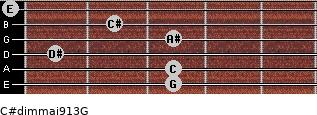 C#dim(maj9/13)/G for guitar on frets 3, 3, 1, 3, 2, 0