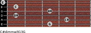 C#dim(maj9/13)/G for guitar on frets 3, 4, 1, 3, 1, 0