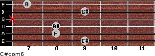 C#dom6 for guitar on frets 9, 8, 8, x, 9, 7