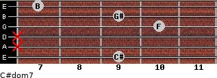 C#dom7 for guitar on frets 9, x, x, 10, 9, 7