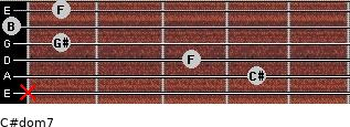 C#dom7 for guitar on frets x, 4, 3, 1, 0, 1
