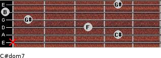 C#dom7 for guitar on frets x, 4, 3, 1, 0, 4