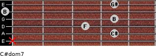 C#dom7 for guitar on frets x, 4, 3, 4, 0, 4