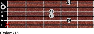 C#dom7/13 for guitar on frets x, 4, 3, 3, 0, 4