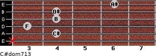 C#dom7/13 for guitar on frets x, 4, 3, 4, 4, 6