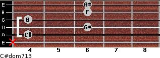 C#dom7/13 for guitar on frets x, 4, 6, 4, 6, 6