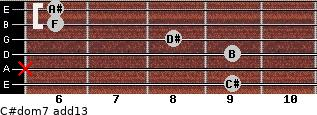 C#dom7(add13) for guitar on frets 9, x, 9, 8, 6, 6
