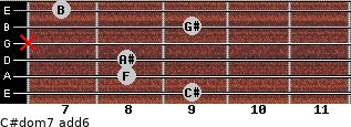 C#dom7(add6) for guitar on frets 9, 8, 8, x, 9, 7