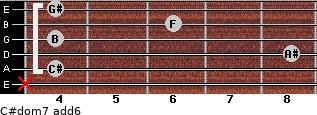 C#dom7(add6) for guitar on frets x, 4, 8, 4, 6, 4